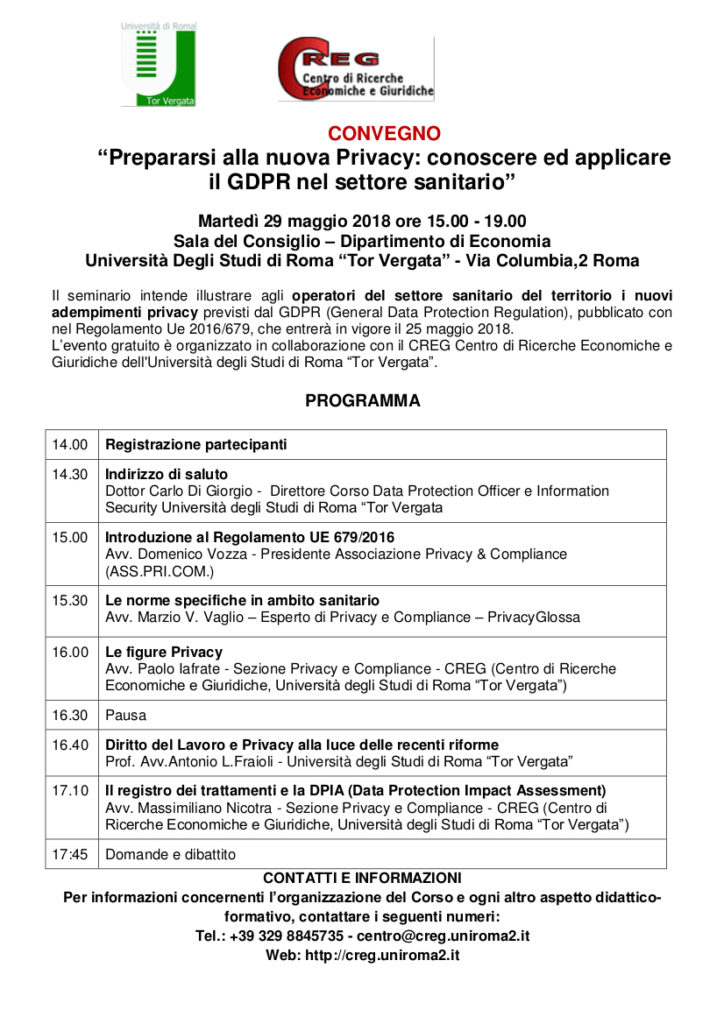 """CONVEGNO """"Prepararsi alla nuova Privacy: conoscere ed applicare il GDPR nel settore sanitario"""